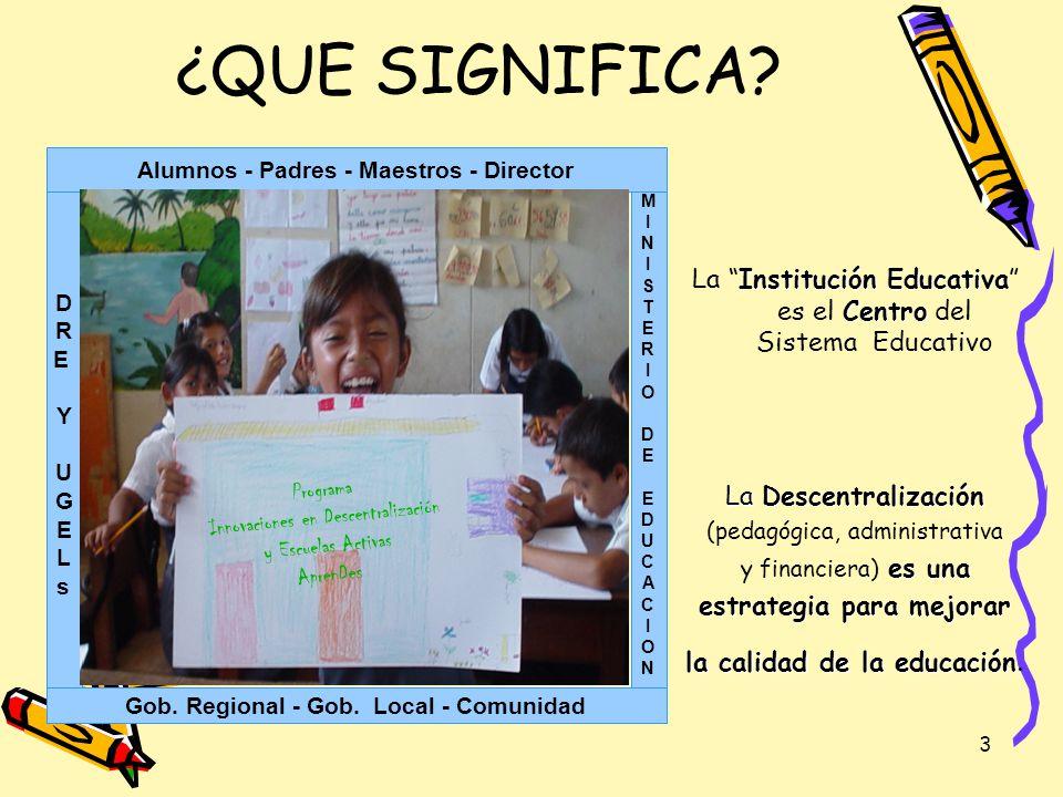 3 Institución Educativa Centro La Institución Educativa es el Centro del Sistema Educativo La Descentralización (pedagógica, administrativa es una y f