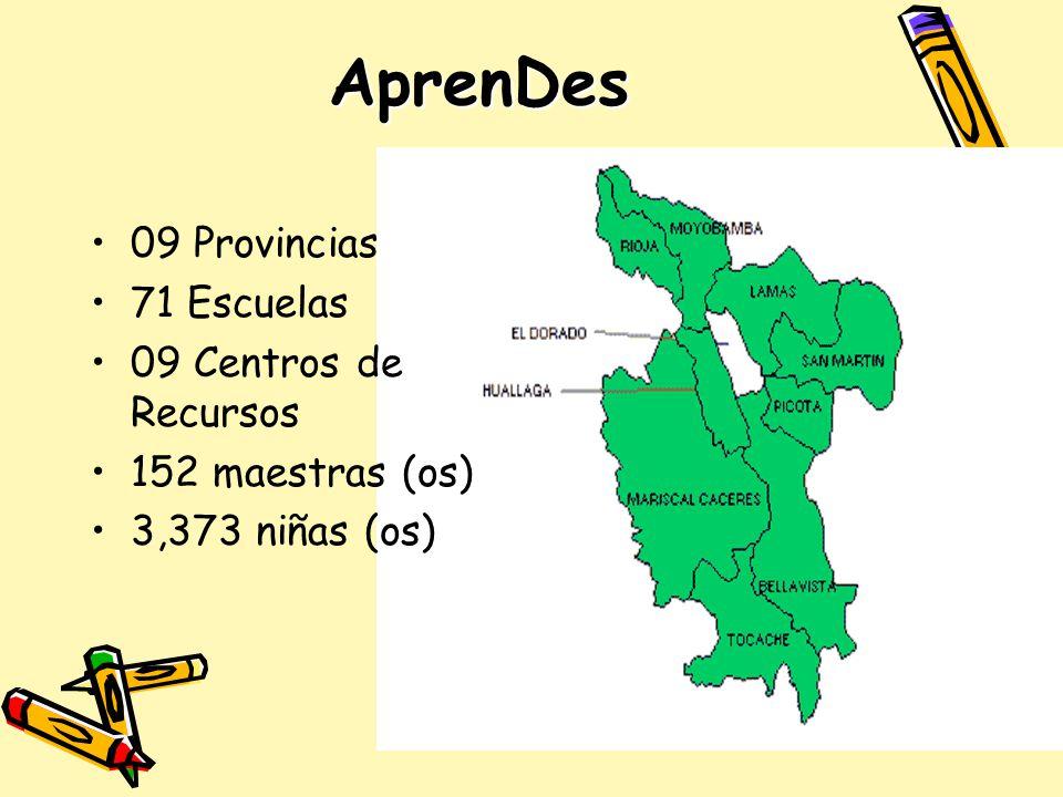 AprenDes 09 Provincias 71 Escuelas 09 Centros de Recursos 152 maestras (os) 3,373 niñas (os)