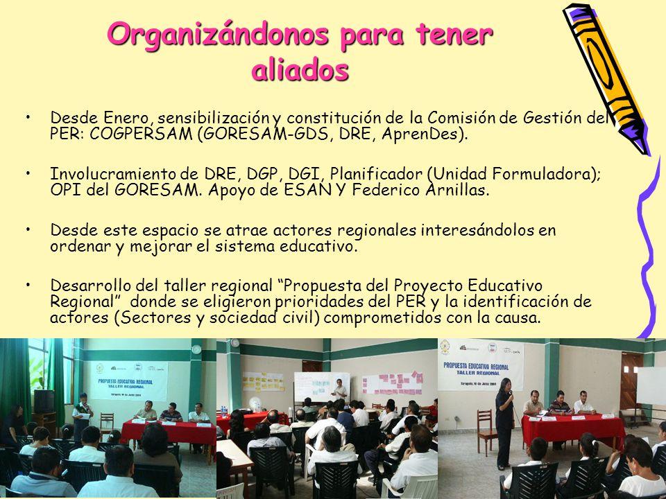 Organizándonos para tener aliados Desde Enero, sensibilización y constitución de la Comisión de Gestión del PER: COGPERSAM (GORESAM-GDS, DRE, AprenDes