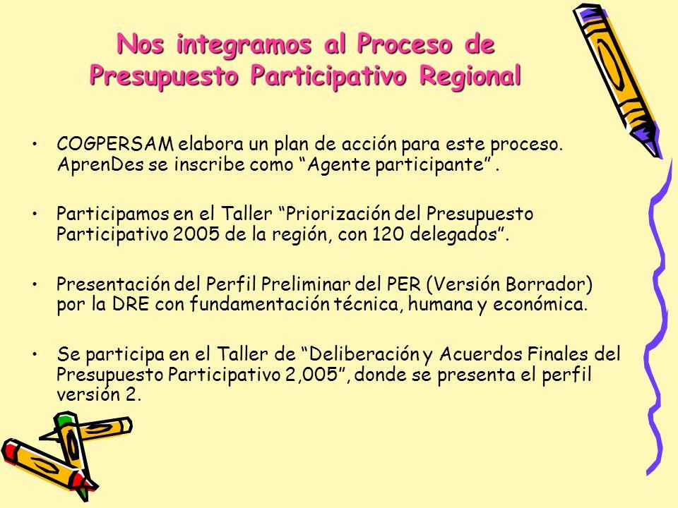 Nos integramos al Proceso de Presupuesto Participativo Regional COGPERSAM elabora un plan de acción para este proceso. AprenDes se inscribe como Agent