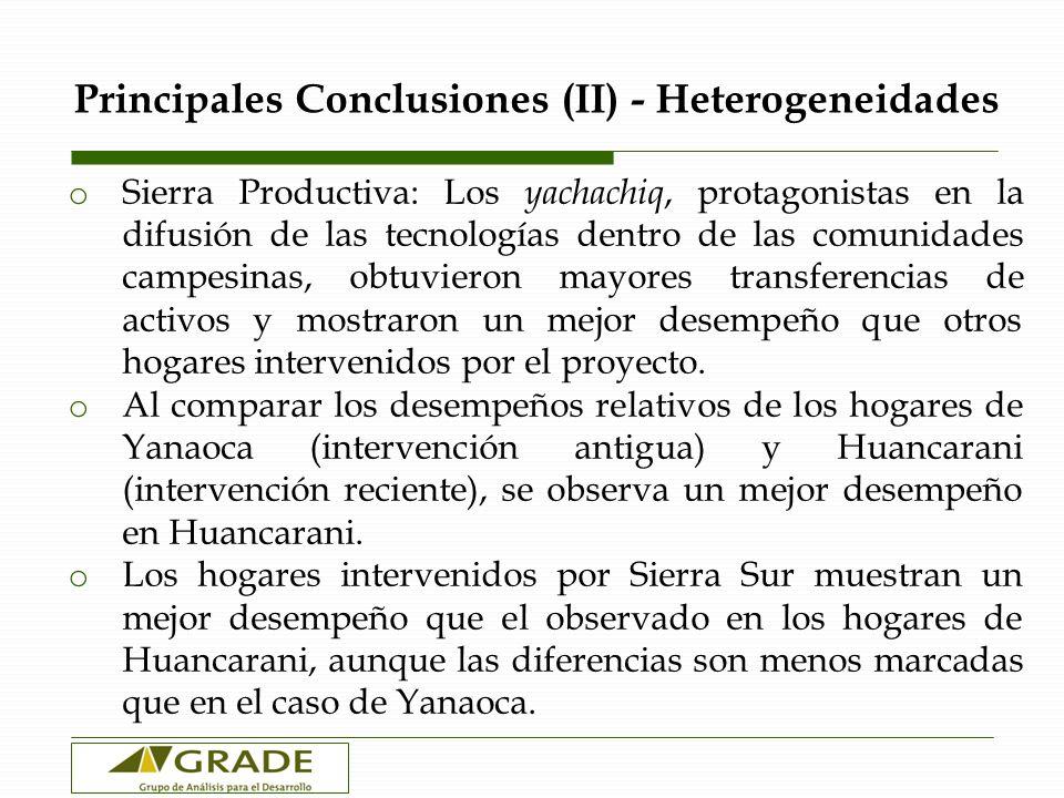 Principales Conclusiones (II) - Heterogeneidades o Sierra Productiva: Los yachachiq, protagonistas en la difusión de las tecnologías dentro de las com