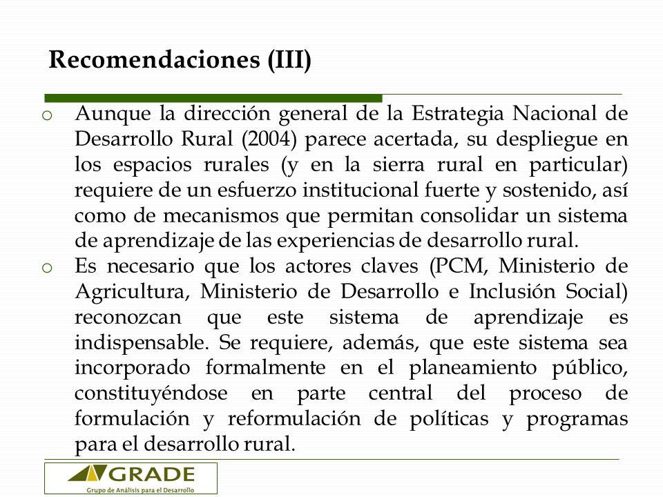 Recomendaciones (III) o Aunque la dirección general de la Estrategia Nacional de Desarrollo Rural (2004) parece acertada, su despliegue en los espacio