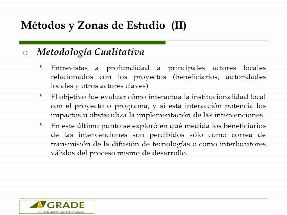 Métodos y Zonas (III) o Criterios de Selección Se buscó zonas agroecológicamente similares (altitud), donde no estuvieran ambas intervenciones (SP y SS) Dentro de estas zonas, se eligieron las más parecidas posibles según el Censo de 1993 7 Huancarani Yanaoca Corporaque Espinar o Proyecto Sierra Productiva Yanaoca (Canas, Cusco): 150 encuestas / Entrevistas a profundidad.