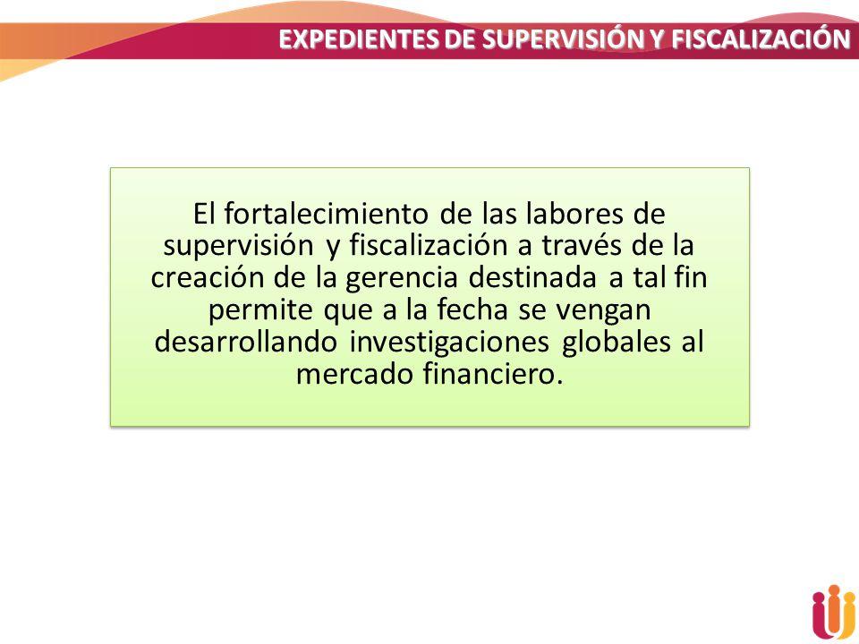 EXPEDIENTES DE SUPERVISIÓN Y FISCALIZACIÓN El fortalecimiento de las labores de supervisión y fiscalización a través de la creación de la gerencia des