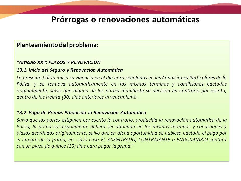 Prórrogas o renovaciones automáticas Planteamiento del problema: Artículo XXº: PLAZOS Y RENOVACIÓN 13.1.Inicio del Seguro y Renovación Automática La p