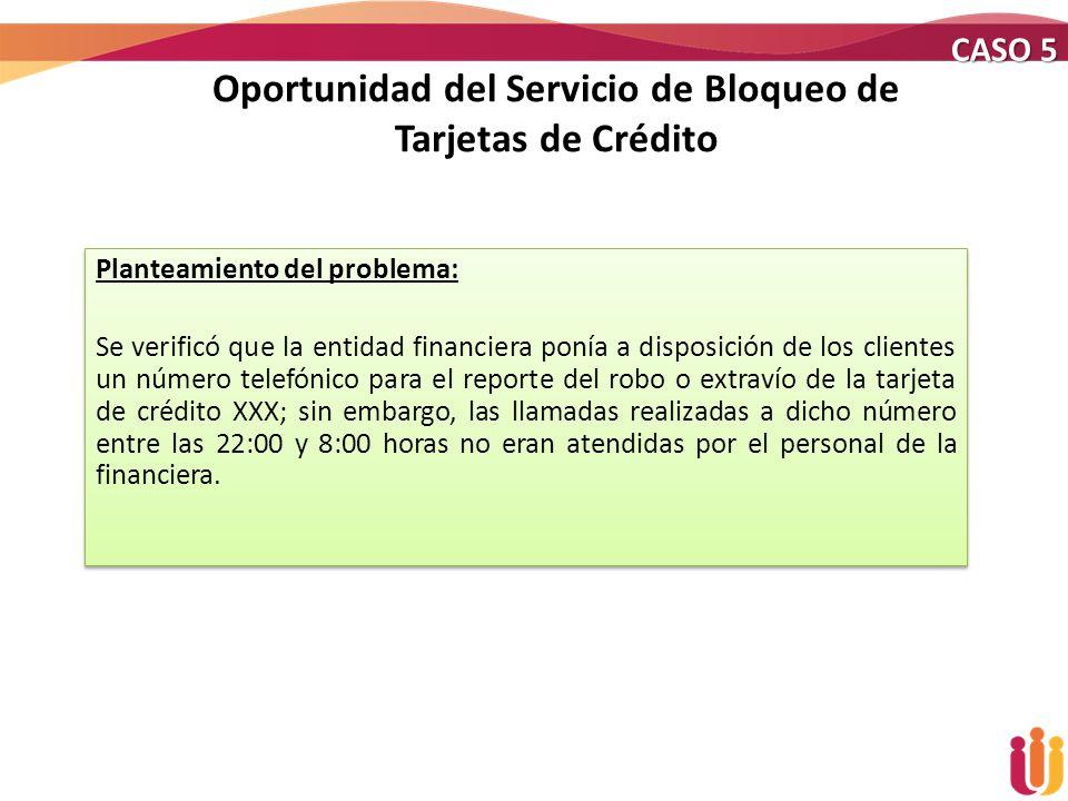 Oportunidad del Servicio de Bloqueo de Tarjetas de Crédito Planteamiento del problema: Se verificó que la entidad financiera ponía a disposición de lo