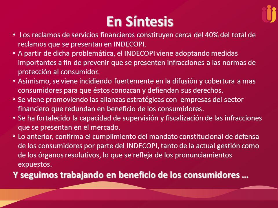 En Síntesis Los reclamos de servicios financieros constituyen cerca del 40% del total de reclamos que se presentan en INDECOPI. A partir de dicha prob