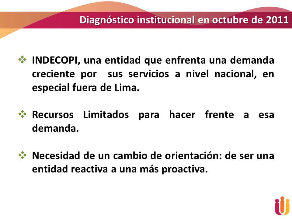 Diagnóstico institucional en octubre de 2011 INDECOPI, una entidad que enfrenta una demanda creciente por sus servicios a nivel nacional, en especial