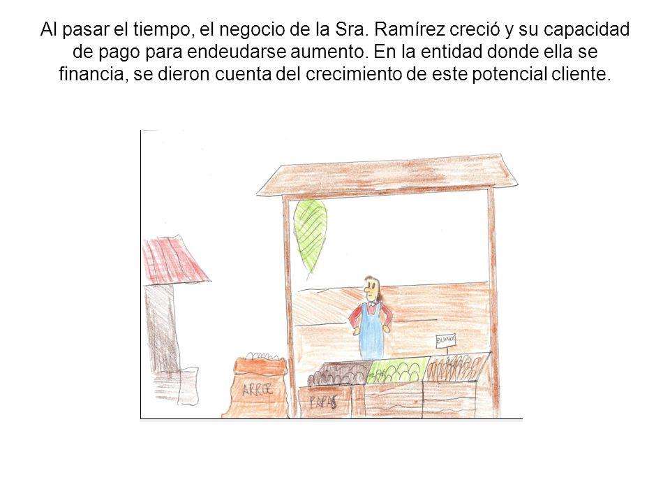 Al pasar el tiempo, el negocio de la Sra. Ramírez creció y su capacidad de pago para endeudarse aumento. En la entidad donde ella se financia, se dier