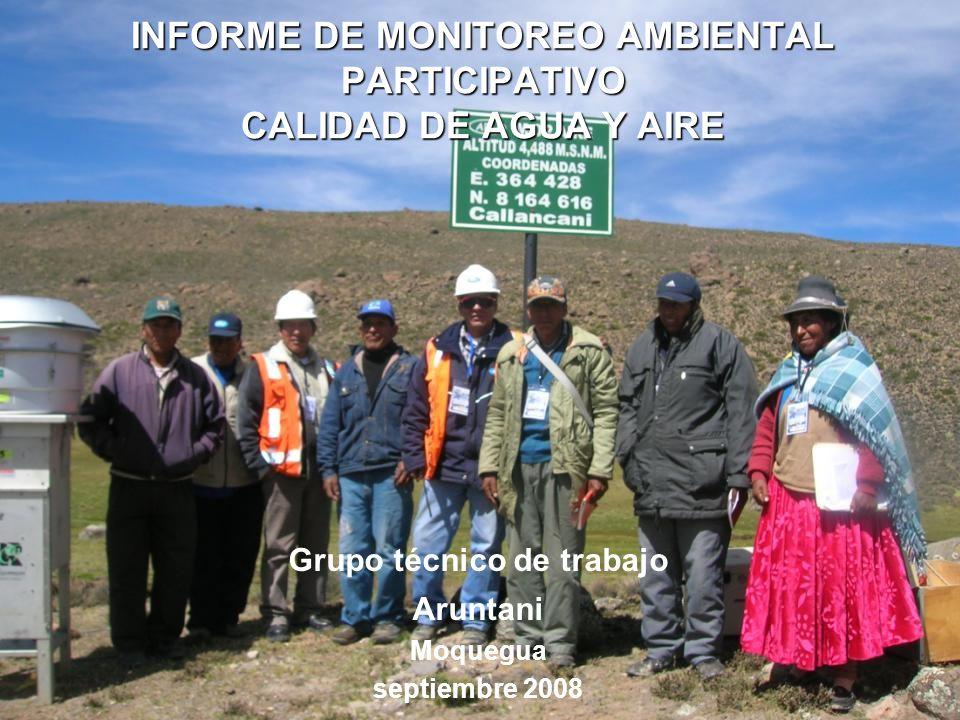 INFORME DE MONITOREO AMBIENTAL PARTICIPATIVO CALIDAD DE AGUA Y AIRE Grupo técnico de trabajo Aruntani Moquegua septiembre 2008