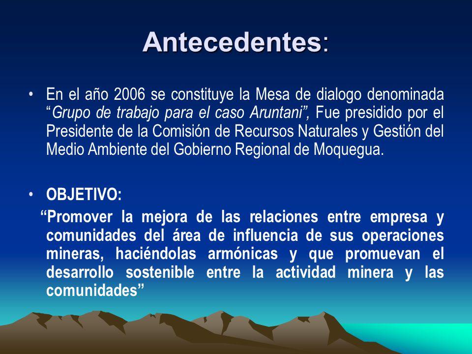 Antecedentes: En el año 2006 se constituye la Mesa de dialogo denominada Grupo de trabajo para el caso Aruntani, Fue presidido por el Presidente de la
