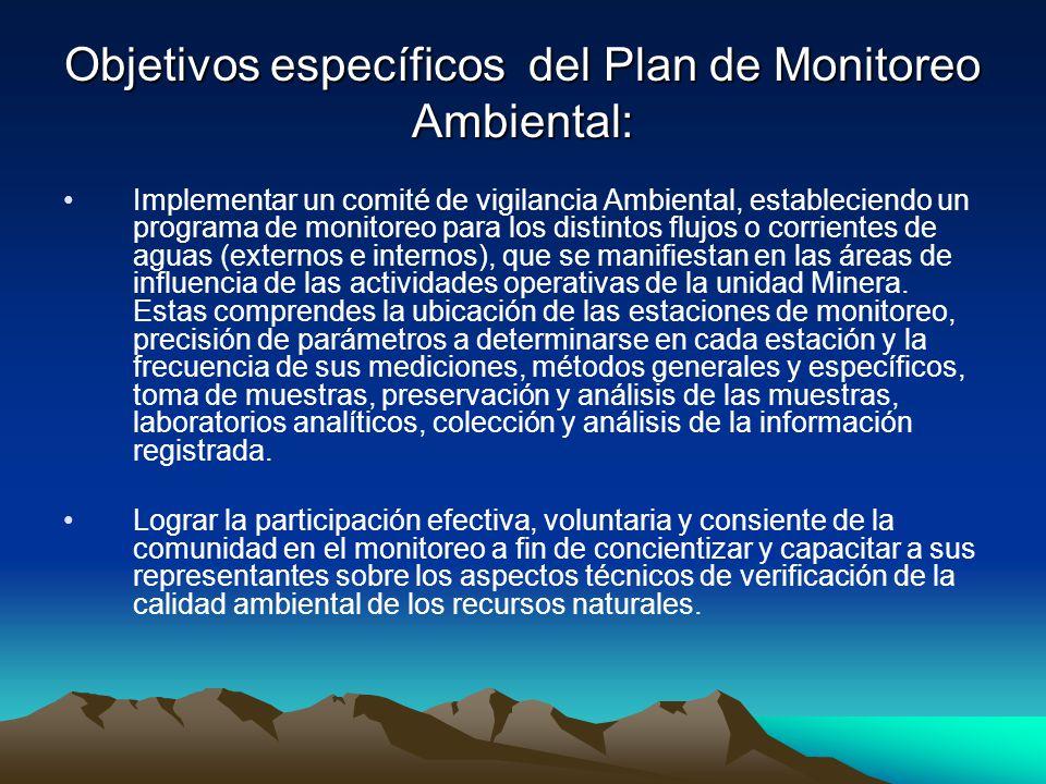 Objetivos específicos del Plan de Monitoreo Ambiental: Implementar un comité de vigilancia Ambiental, estableciendo un programa de monitoreo para los