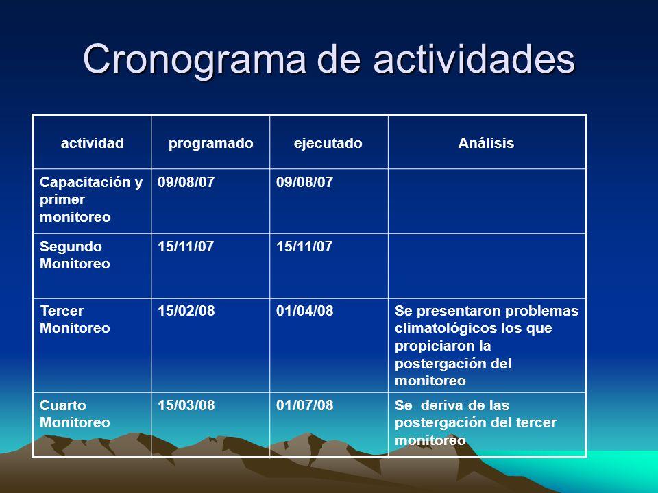 Cronograma de actividades actividadprogramadoejecutadoAnálisis Capacitación y primer monitoreo 09/08/07 Segundo Monitoreo 15/11/07 Tercer Monitoreo 15