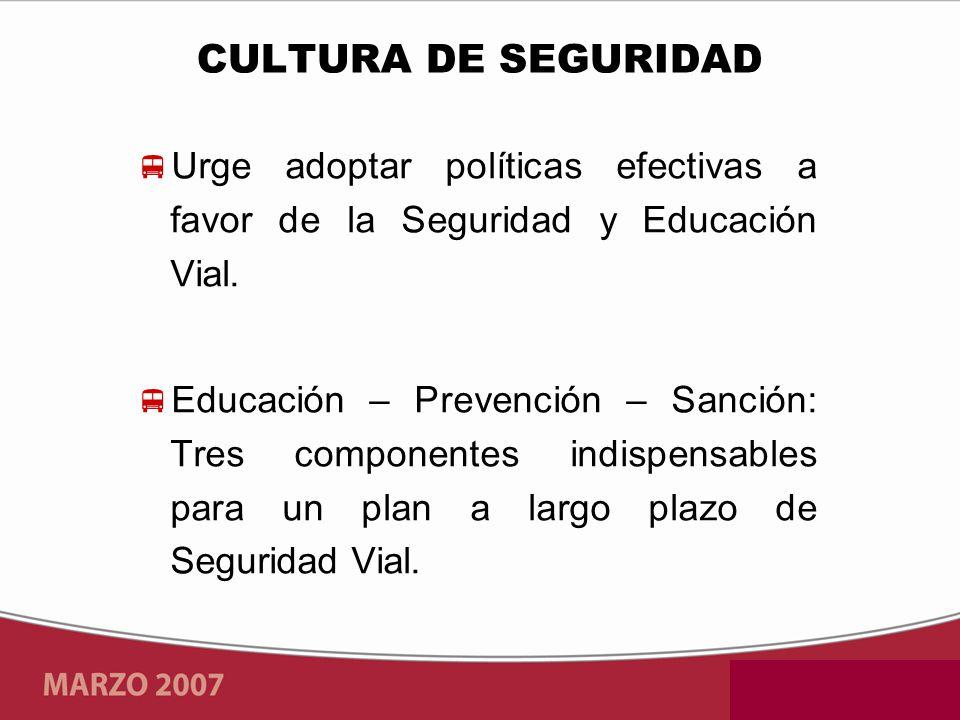 Urge adoptar políticas efectivas a favor de la Seguridad y Educación Vial. Educación – Prevención – Sanción: Tres componentes indispensables para un p