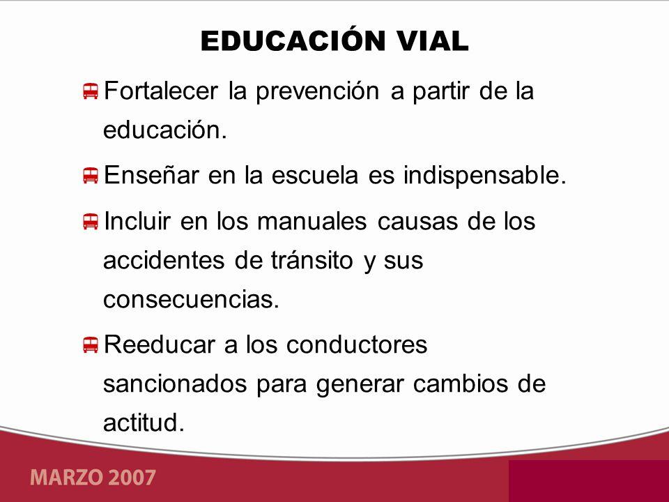 Fortalecer la prevención a partir de la educación. Enseñar en la escuela es indispensable. Incluir en los manuales causas de los accidentes de tránsit