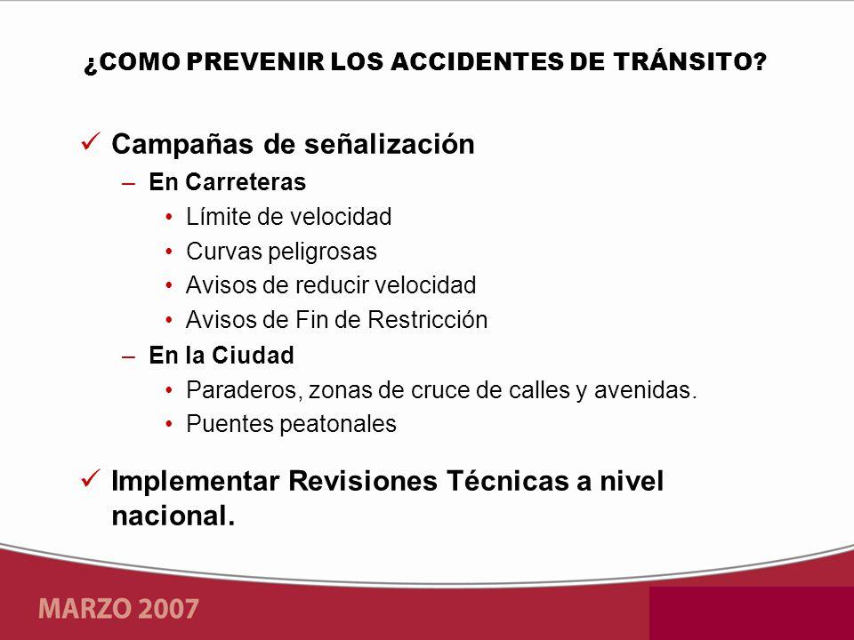 Campañas de señalización –En Carreteras Límite de velocidad Curvas peligrosas Avisos de reducir velocidad Avisos de Fin de Restricción –En la Ciudad Paraderos, zonas de cruce de calles y avenidas.