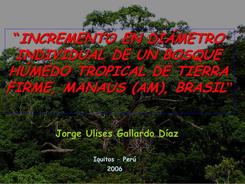 5.- RESULTADOS Y DISCUCIONES Determinación de la tasa de crecimiento en diámetro del tronco de los árboles El promedio de la tasa de Incremento Corriente Anual (ICA), = 2,83 mm Intervalo de confianza = 2,37 a 3,28 mm (α 0,05) Valores mínimos y máximos = -0,344 mm e 10,39 mm Área de BIONTE = 1,5 mm Tapajós = 2,0 mm Higuchi et al.