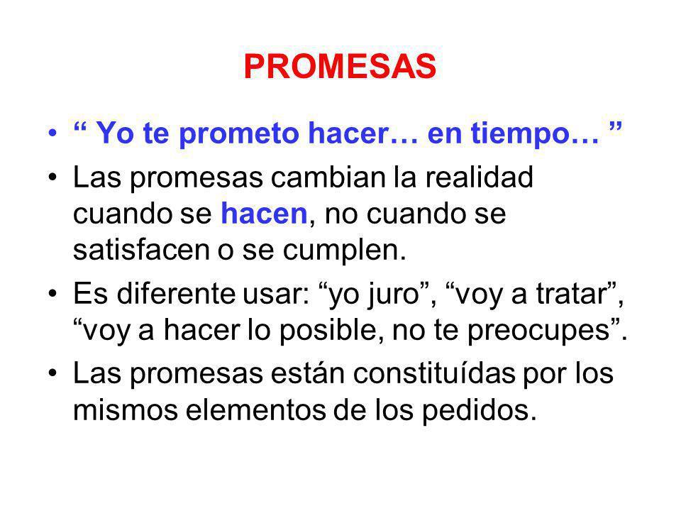 PROMESAS Yo te prometo hacer… en tiempo… Las promesas cambian la realidad cuando se hacen, no cuando se satisfacen o se cumplen. Es diferente usar: yo