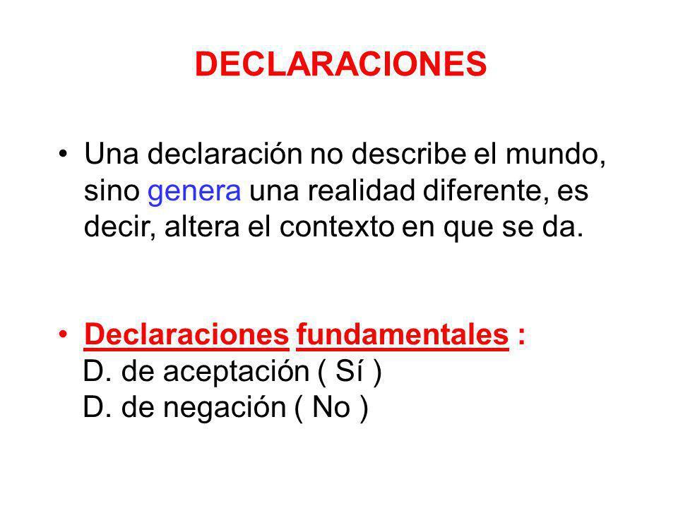 DECLARACIONES Una declaración no describe el mundo, sino genera una realidad diferente, es decir, altera el contexto en que se da. Declaraciones funda