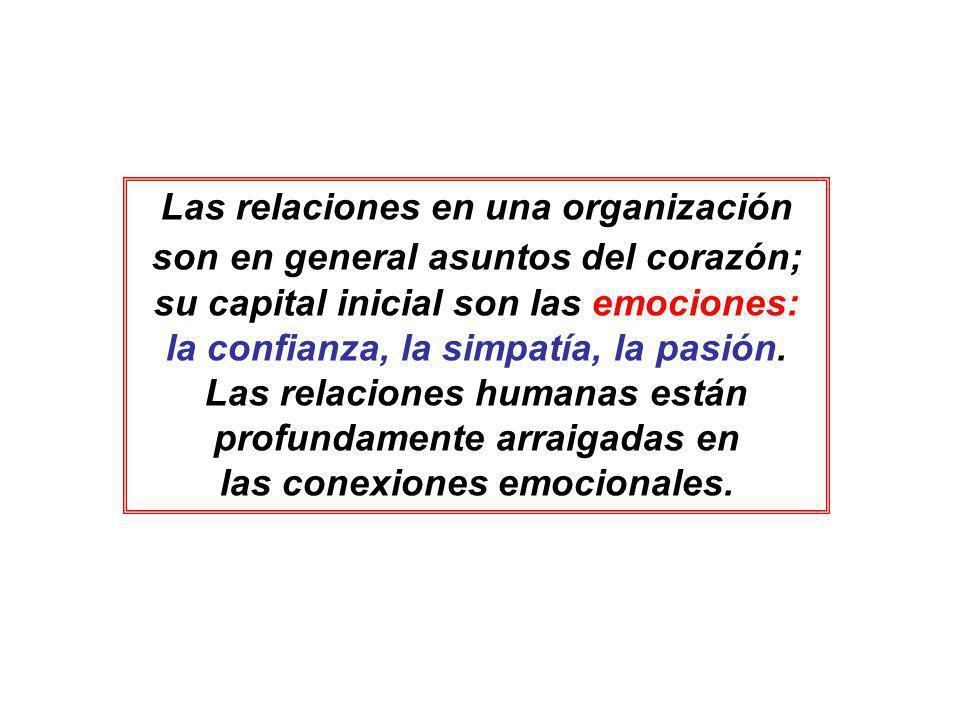 Las relaciones en una organización son en general asuntos del corazón; su capital inicial son las emociones: la confianza, la simpatía, la pasión. Las