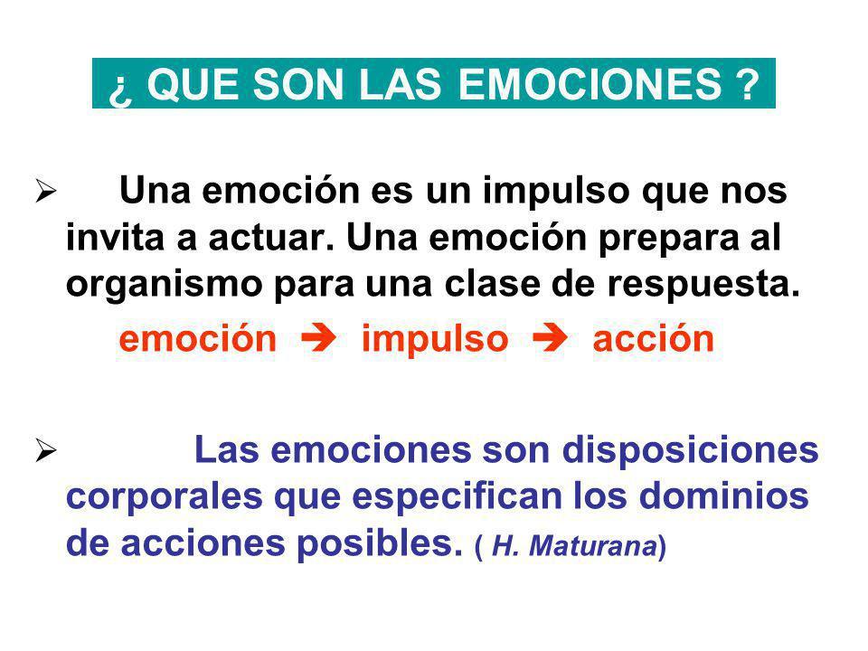 ¿ QUE SON LAS EMOCIONES ? Una emoción es un impulso que nos invita a actuar. Una emoción prepara al organismo para una clase de respuesta. emoción imp
