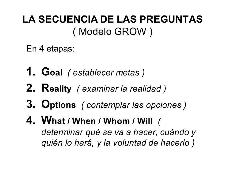 LA SECUENCIA DE LAS PREGUNTAS ( Modelo GROW ) En 4 etapas: 1.G oal ( establecer metas ) 2.R eality ( examinar la realidad ) 3.O ptions ( contemplar la