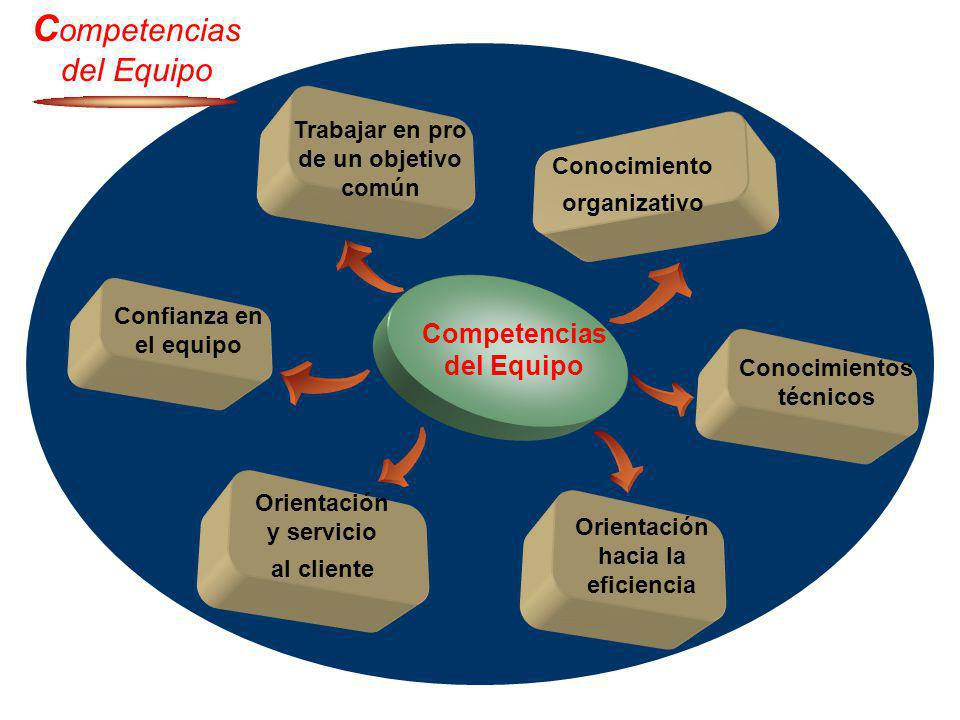 Trabajar en pro de un objetivo común Conocimiento organizativo Competencias del Equipo C ompetencias del Equipo Orientación y servicio al cliente Orie