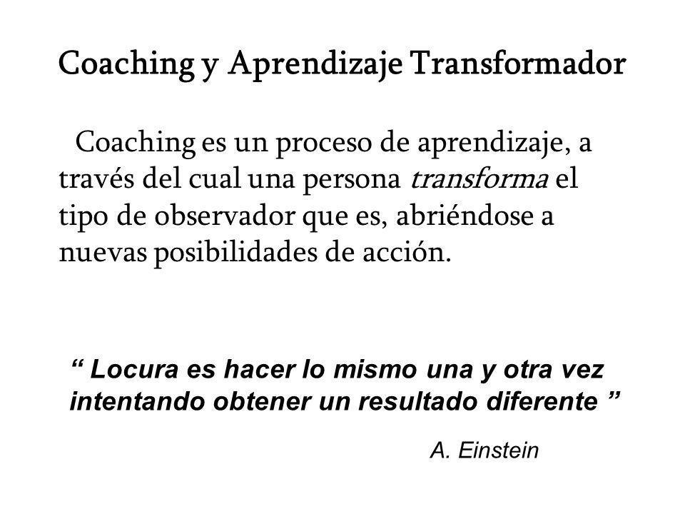 Coaching y Aprendizaje Transformador Coaching es un proceso de aprendizaje, a través del cual una persona transforma el tipo de observador que es, abr