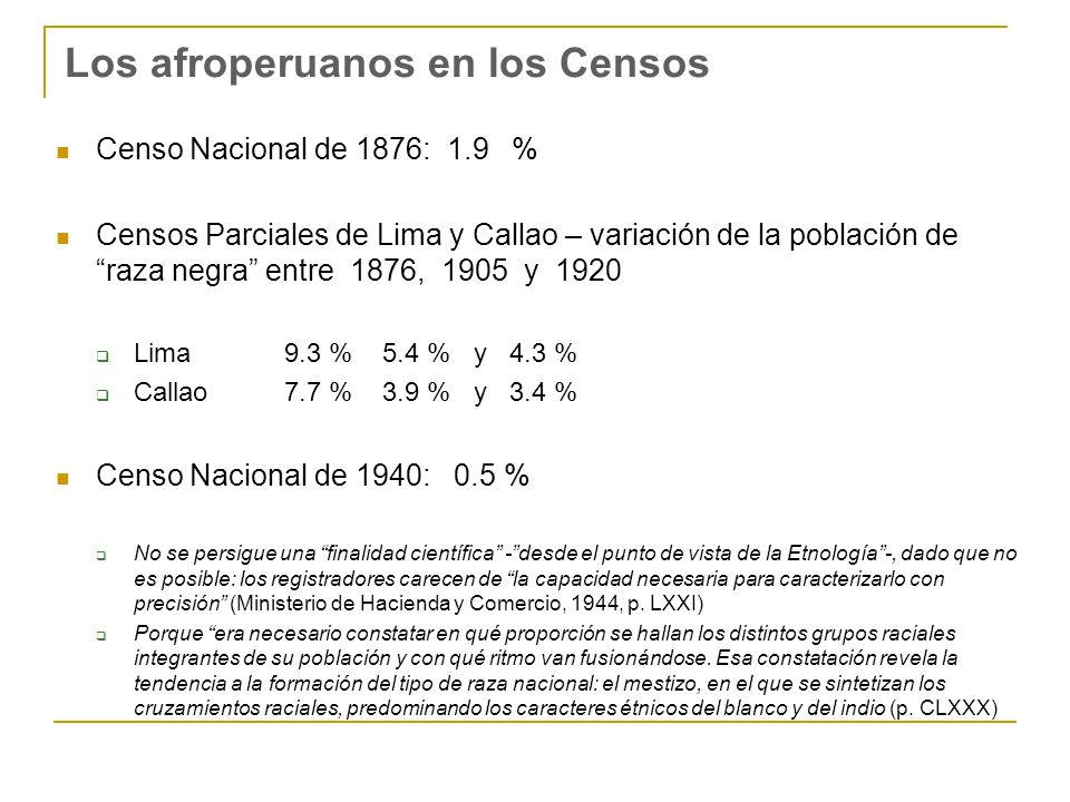 Los afroperuanos en los Censos Censo Nacional de 1876: 1.9 % Censos Parciales de Lima y Callao – variación de la población de raza negra entre 1876, 1905 y 1920 Lima 9.3 % 5.4 % y 4.3 % Callao 7.7 % 3.9 % y 3.4 % Censo Nacional de 1940: 0.5 % No se persigue una finalidad científica -desde el punto de vista de la Etnología-, dado que no es posible: los registradores carecen de la capacidad necesaria para caracterizarlo con precisión (Ministerio de Hacienda y Comercio, 1944, p.