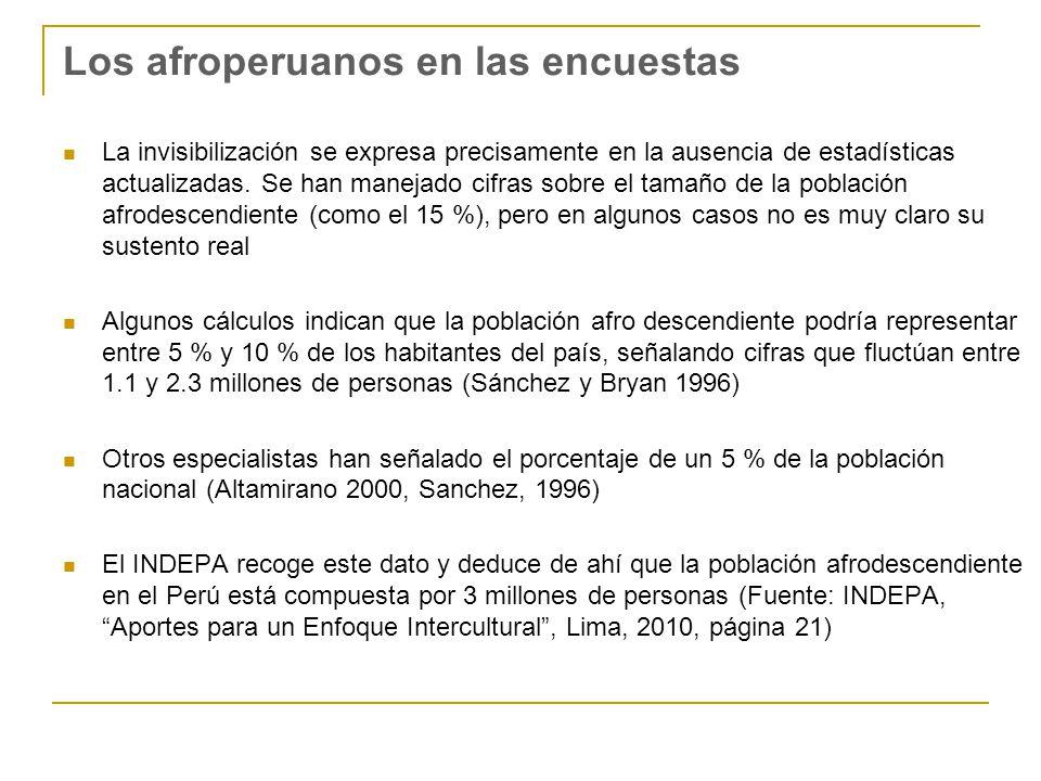 Los afroperuanos en las encuestas La invisibilización se expresa precisamente en la ausencia de estadísticas actualizadas.