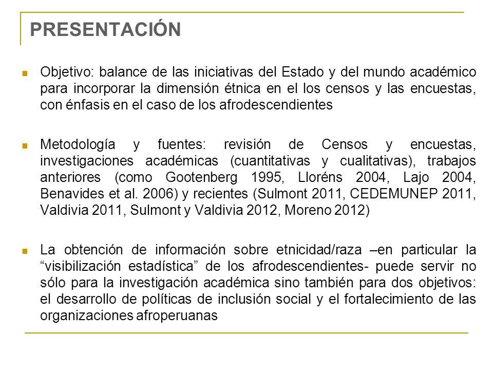 PRESENTACIÓN Objetivo: balance de las iniciativas del Estado y del mundo académico para incorporar la dimensión étnica en el los censos y las encuesta