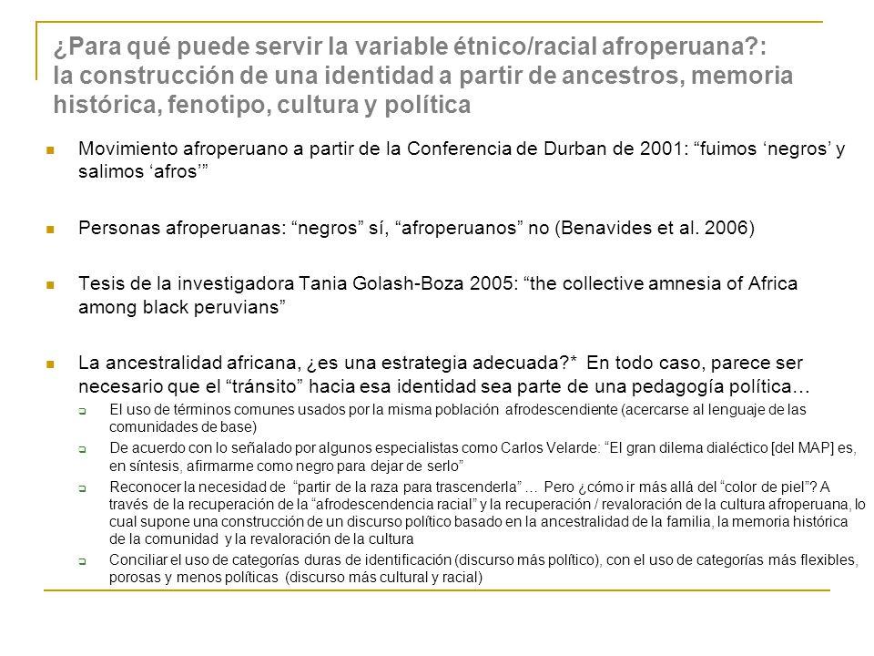 ¿Para qué puede servir la variable étnico/racial afroperuana?: la construcción de una identidad a partir de ancestros, memoria histórica, fenotipo, cu