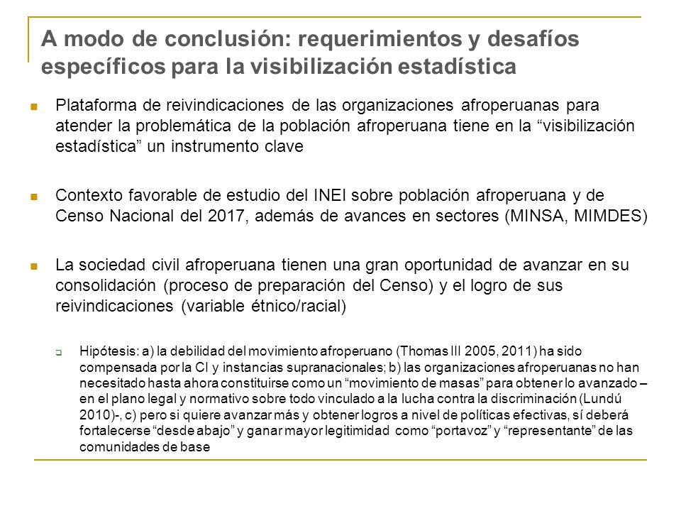A modo de conclusión: requerimientos y desafíos específicos para la visibilización estadística Plataforma de reivindicaciones de las organizaciones af