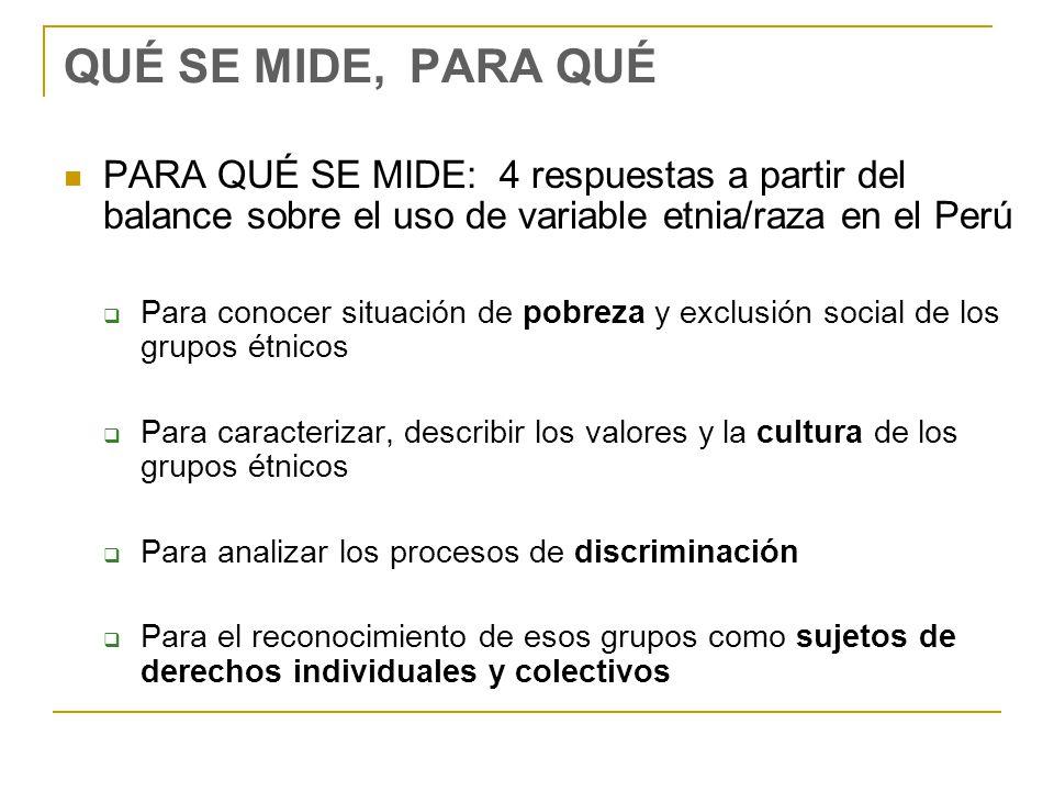 QUÉ SE MIDE, PARA QUÉ PARA QUÉ SE MIDE: 4 respuestas a partir del balance sobre el uso de variable etnia/raza en el Perú Para conocer situación de pobreza y exclusión social de los grupos étnicos Para caracterizar, describir los valores y la cultura de los grupos étnicos Para analizar los procesos de discriminación Para el reconocimiento de esos grupos como sujetos de derechos individuales y colectivos