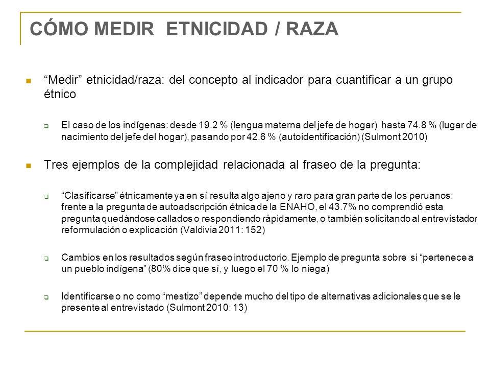 CÓMO MEDIR ETNICIDAD / RAZA Medir etnicidad/raza: del concepto al indicador para cuantificar a un grupo étnico El caso de los indígenas: desde 19.2 %