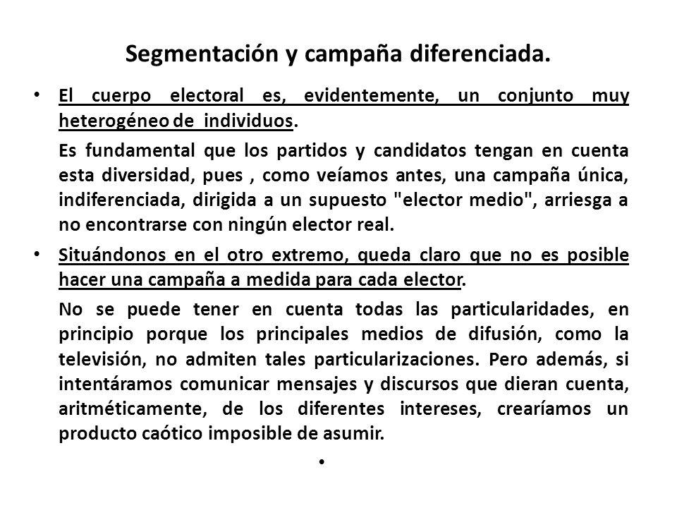 Segmentación y campaña diferenciada. El cuerpo electoral es, evidentemente, un conjunto muy heterogéneo de individuos. Es fundamental que los partidos