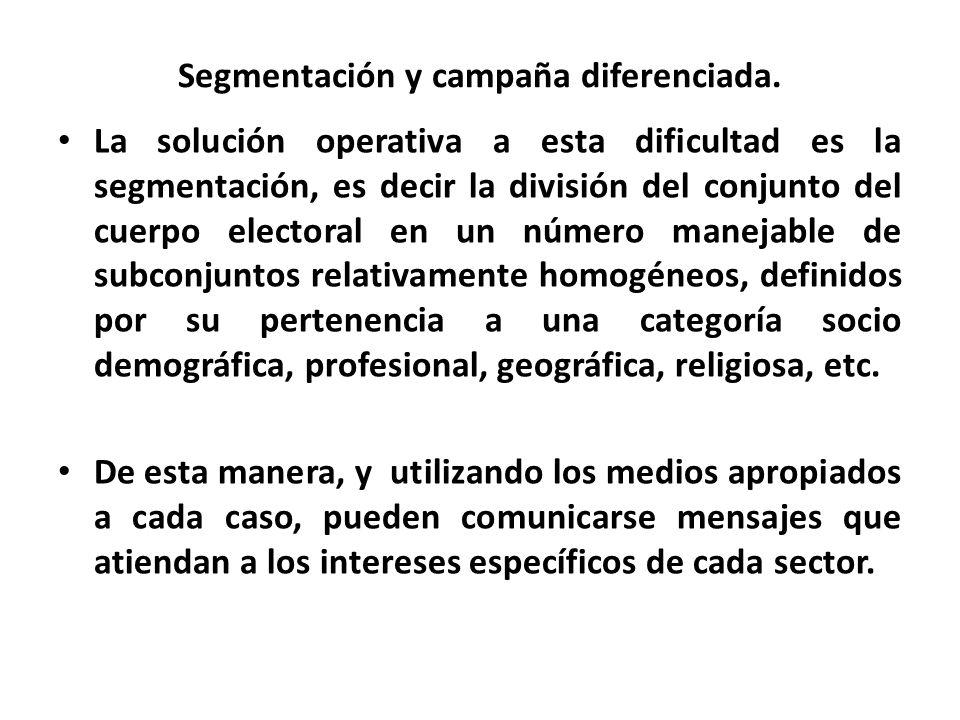 Segmentación y campaña diferenciada. La solución operativa a esta dificultad es la segmentación, es decir la división del conjunto del cuerpo electora