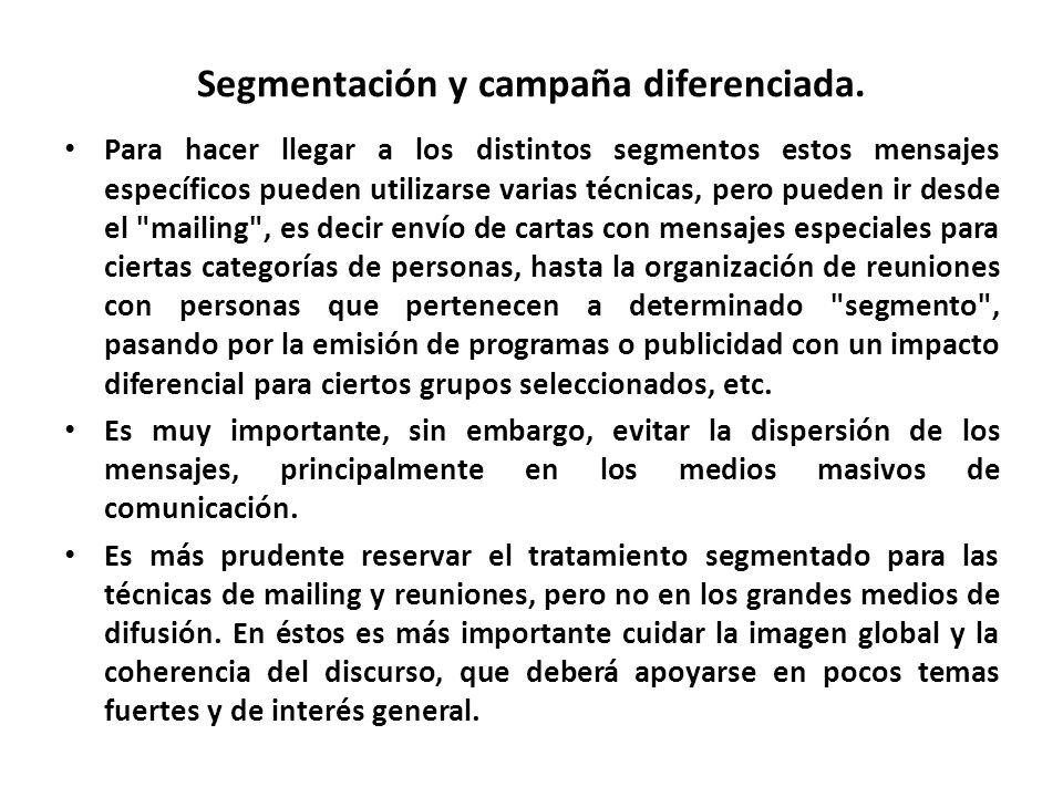 Segmentación y campaña diferenciada. Para hacer llegar a los distintos segmentos estos mensajes específicos pueden utilizarse varias técnicas, pero pu