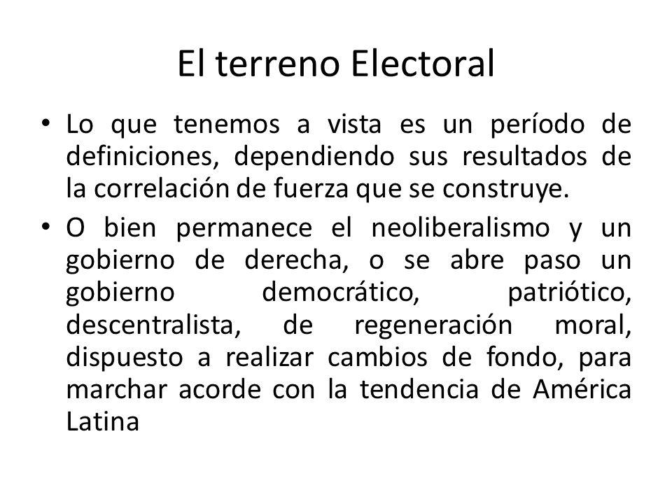 El terreno Electoral Lo que tenemos a vista es un período de definiciones, dependiendo sus resultados de la correlación de fuerza que se construye. O