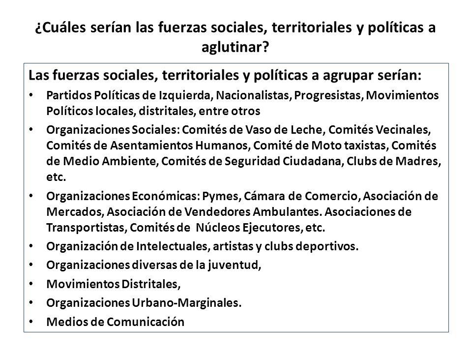 ¿Cuáles serían las fuerzas sociales, territoriales y políticas a aglutinar? Las fuerzas sociales, territoriales y políticas a agrupar serían: Partidos