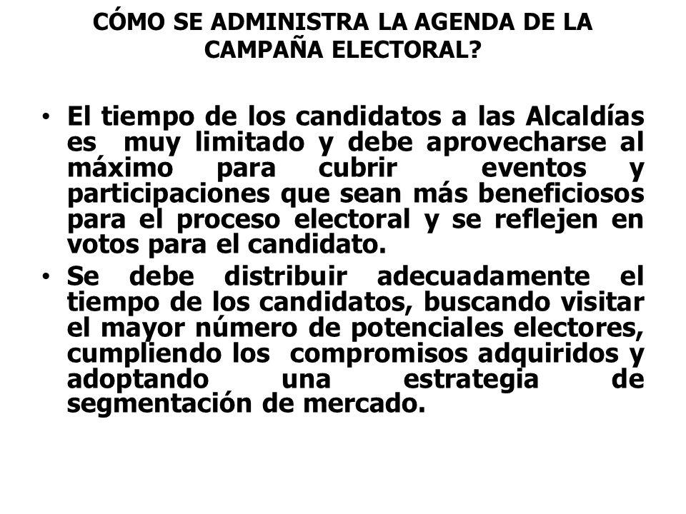 CÓMO SE ADMINISTRA LA AGENDA DE LA CAMPAÑA ELECTORAL? El tiempo de los candidatos a las Alcaldías es muy limitado y debe aprovecharse al máximo para c