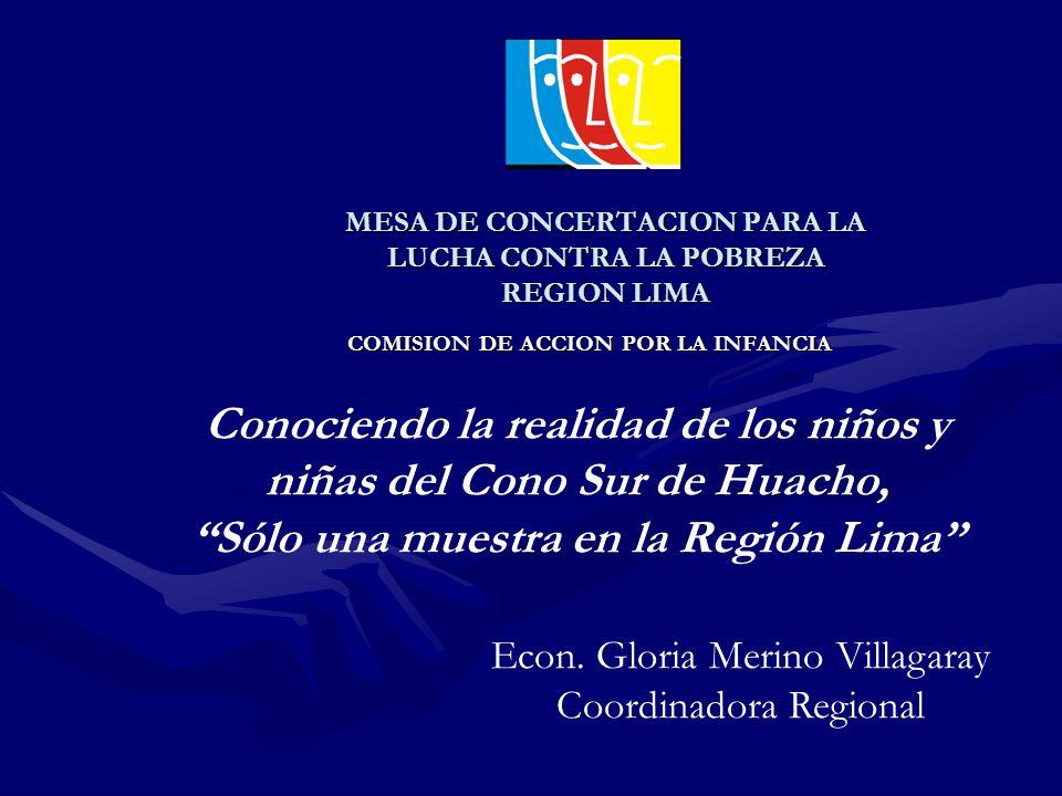 MESA DE CONCERTACION PARA LA LUCHA CONTRA LA POBREZA REGION LIMA COMISION DE ACCION POR LA INFANCIA Conociendo la realidad de los niños y niñas del Cono Sur de Huacho, Sólo una muestra en la Región Lima Econ.