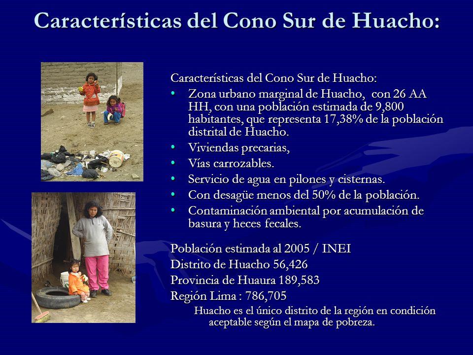 Características del Cono Sur de Huacho: Zona urbano marginal de Huacho, con 26 AA HH, con una población estimada de 9,800 habitantes, que representa 17,38% de la población distrital de Huacho.