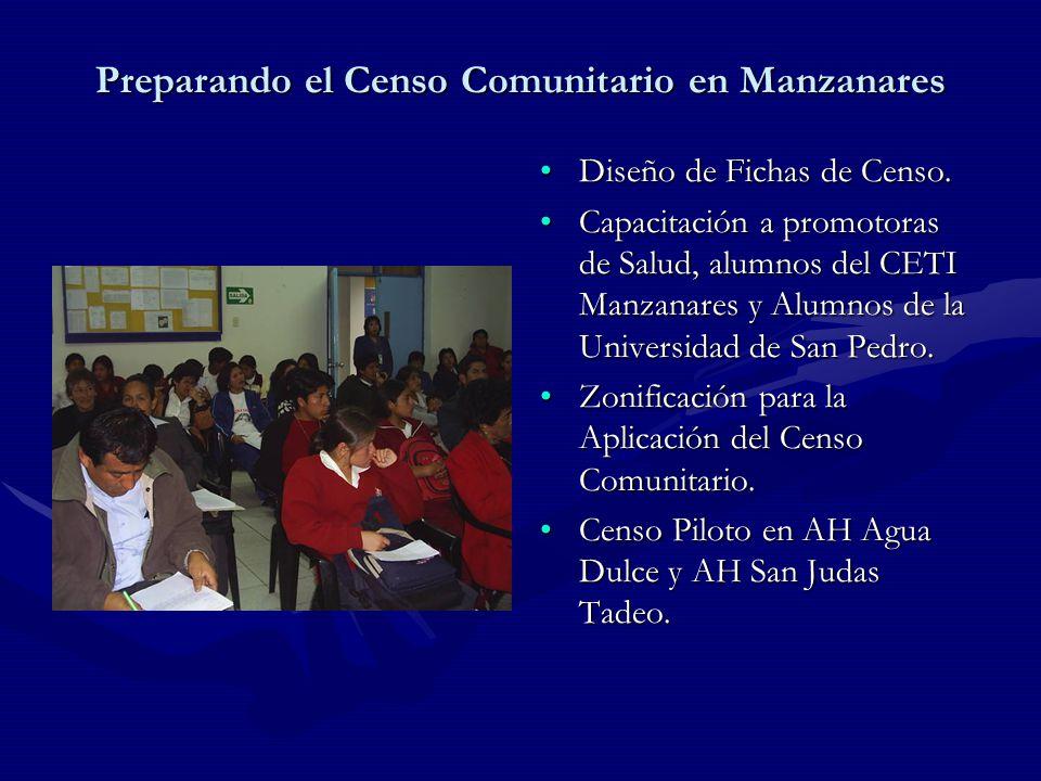 Preparando el Censo Comunitario en Manzanares Diseño de Fichas de Censo.