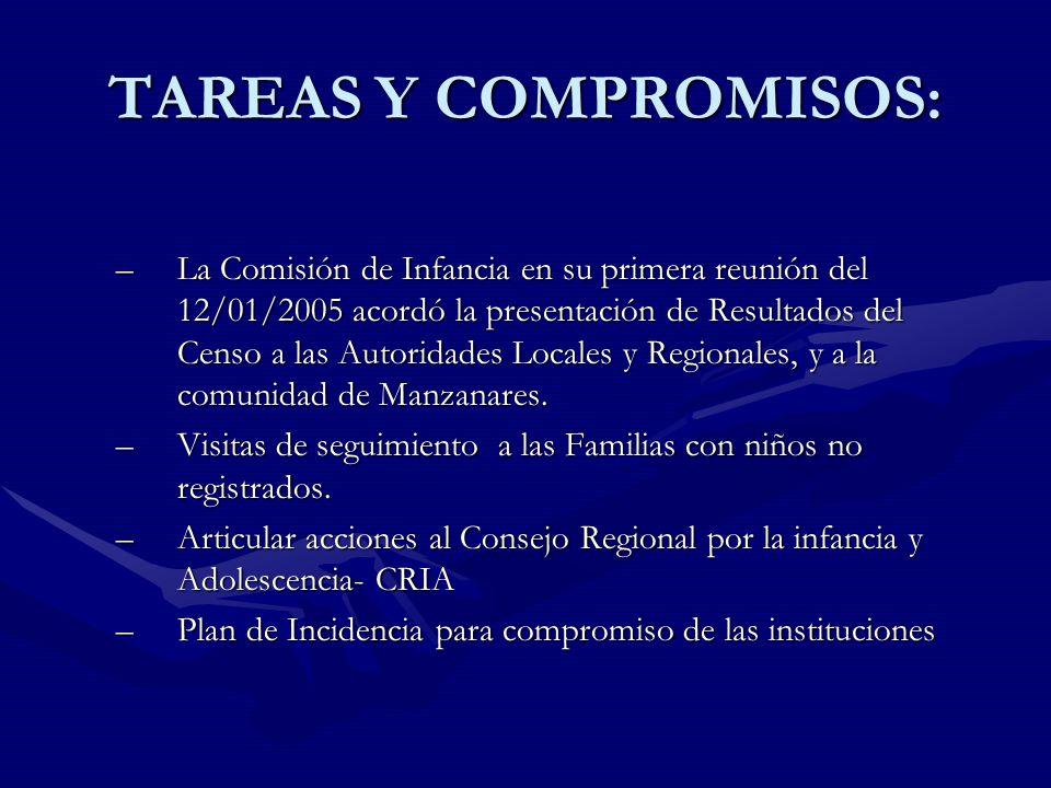 TAREAS Y COMPROMISOS: –La Comisión de Infancia en su primera reunión del 12/01/2005 acordó la presentación de Resultados del Censo a las Autoridades Locales y Regionales, y a la comunidad de Manzanares.