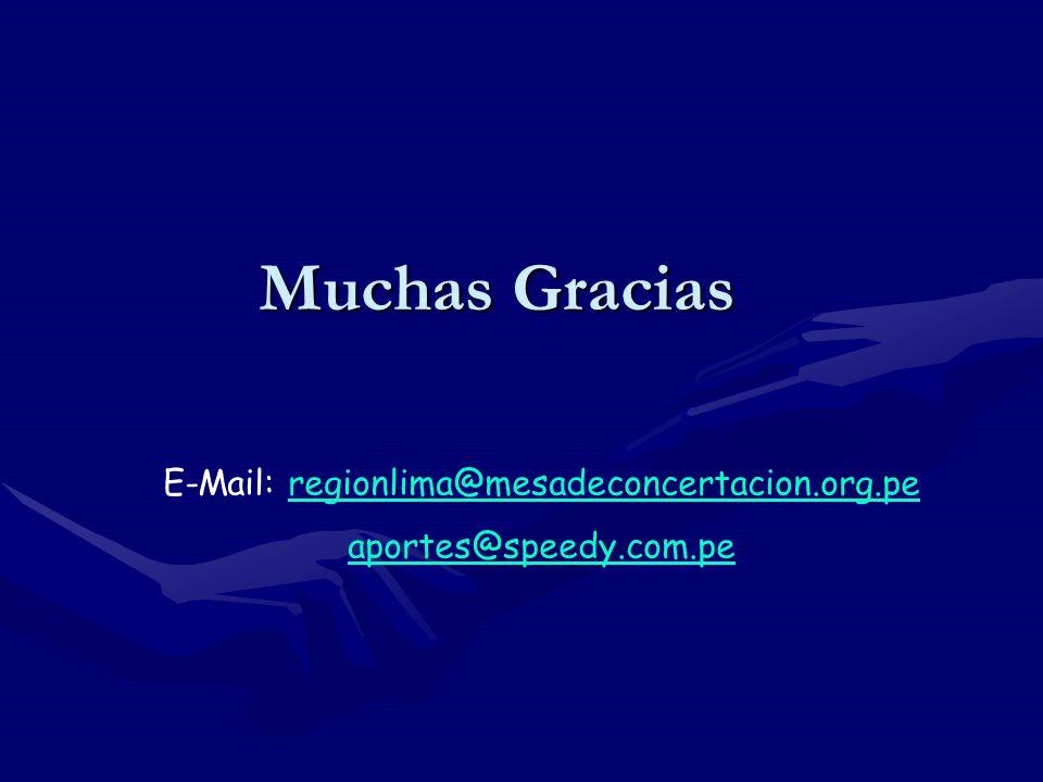 Muchas Gracias E-Mail: regionlima@mesadeconcertacion.org.peregionlima@mesadeconcertacion.org.pe aportes@speedy.com.pe