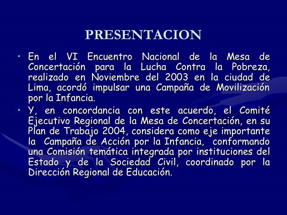 PRESENTACION En el VI Encuentro Nacional de la Mesa de Concertación para la Lucha Contra la Pobreza, realizado en Noviembre del 2003 en la ciudad de Lima, acordó impulsar una Campaña de Movilización por la Infancia.En el VI Encuentro Nacional de la Mesa de Concertación para la Lucha Contra la Pobreza, realizado en Noviembre del 2003 en la ciudad de Lima, acordó impulsar una Campaña de Movilización por la Infancia.