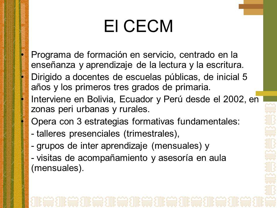 El CECM Programa de formación en servicio, centrado en la enseñanza y aprendizaje de la lectura y la escritura. Dirigido a docentes de escuelas públic