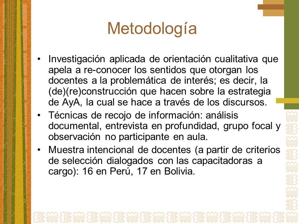 Metodología Investigación aplicada de orientación cualitativa que apela a re-conocer los sentidos que otorgan los docentes a la problemática de interé