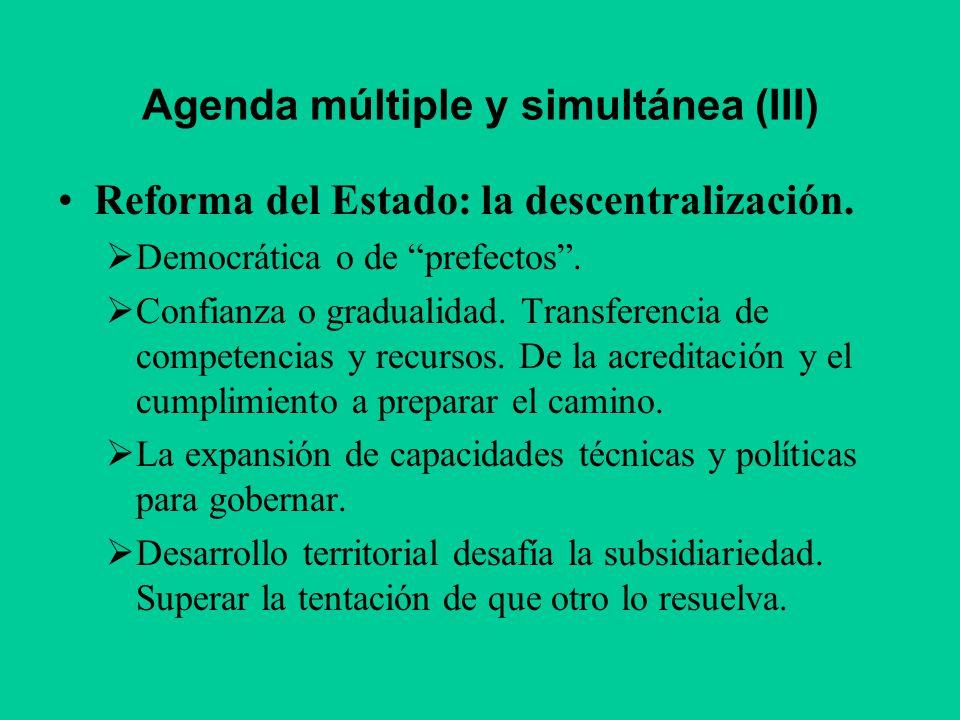 Agenda múltiple y simultánea (III) Reforma del Estado: la descentralización. Democrática o de prefectos. Confianza o gradualidad. Transferencia de com